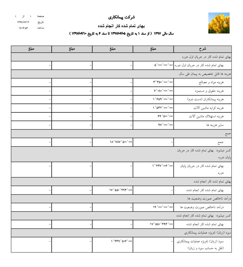 گزارش بهای تمام شده پروژه ( نرم افزار عمومی )