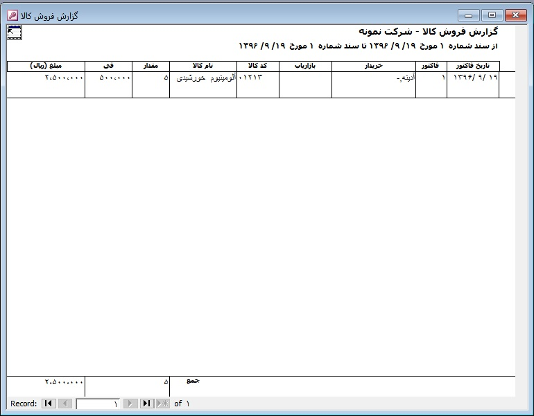 نمونه گزارش کاردکس مقداری و ریالی انبار