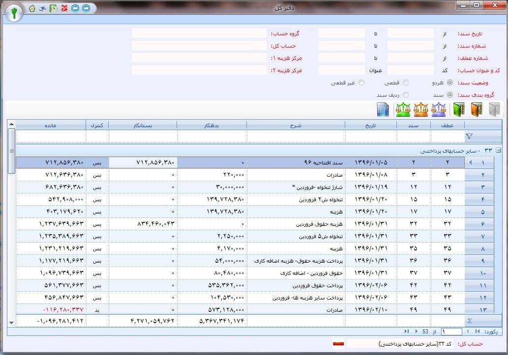 نمونه گزارش دفتر کل